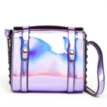 Illusion-colour Glossy Surface Laser Shoulder Bag