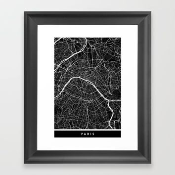 Paris - Minimalist City Map Framed Art Print by Fabled Creative