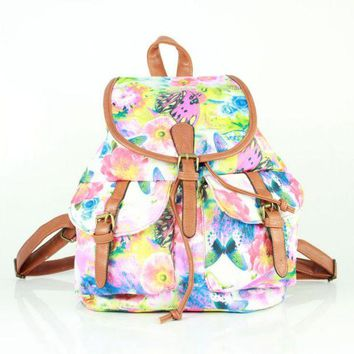 Day-First™ Butterfly Printed Cute Large College Backpacks for School Bag Canvas Daypack Travel Bag