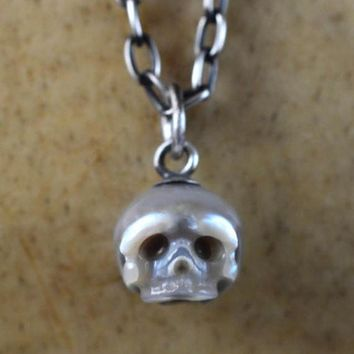 Hand Carved Grey Pearl Skull with Skull Charm Necklace