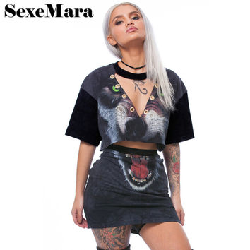 Animal Head Print Two Piece Set Plus Size Fashion Punk Crop Top and Skirt Set Casual Summer Suits for Women Outfit D41-AA48