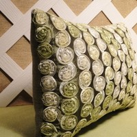 Silky Ribbon Fleurettes Accent Pillow in Olive Sage and White