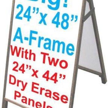 "Wood A-frame 24""x48"" Double Sided Sidewalk Sign w/Dry Erase Insert Panels"