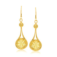 14K Yellow Gold Drop Ball Earrings with Citrine Accents