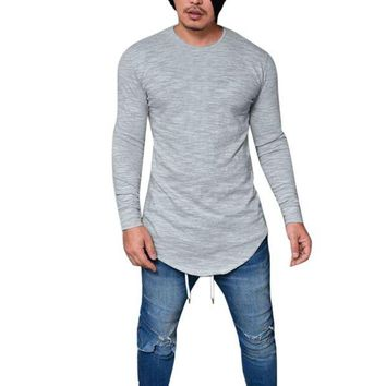DCCKON3 men slim fit o neck long sleeve muscle tee t shirt casual tops blouse 2