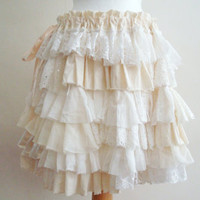 Upcycled Skirt Woman's Clothing Ivory Cream Ruffles Lace Satin Chiffone Layers Mori Girl inspired