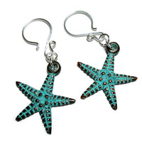 Starfish Earrings,Beach Earrings,Dangle Earrings,Greek Mykonos,Charm Earrings,Handmade Jewelry,Silver Earrings,Patina Earrings,Summer