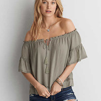 AEO Off-the-Shoulder Top, Light Blue