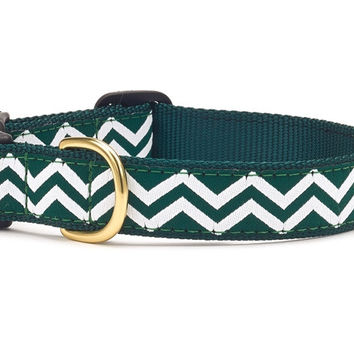 Green White Chevron Dog Collar