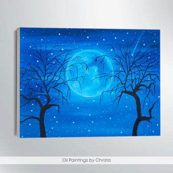 MOON PAINTING-oil painting-9x12-wall decor-christmas gift-romantic art-skyline-moon light-art-moon art-gift for her-sea painting-home decor-
