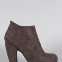 Women's Bamboo Suede Round Toe Heeled Booties