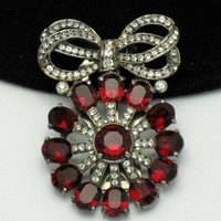 Eisenberg Original Sterling Silver Fur Clip Pin Ruby Red Glass Crystal Rhinestones