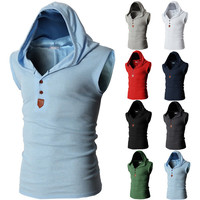 Henley Style Sleeveless Men's Fashion Tee with Hood