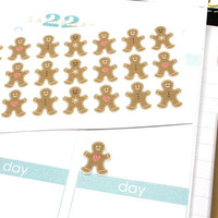 35 Small Gingerbread Stickers! Perfect for your Erin Condren Life Planner, Filofax, Kikkik, PlumPaper ,scrapbooking! #SQ00295