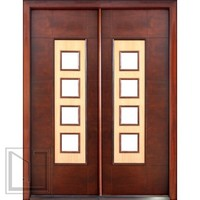 Prehung Low-E Double Door, Wind-load Rated, Contemporary Square Design