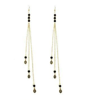 Pleasure's All Mine Earrings in Onyx and Gold