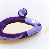 Mouse felt mirror, OOAK, lilac and purple mice