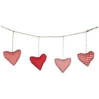 Buy John Lewis Padded Heart Garland, Red/White, L1.6m online at JohnLewis.com