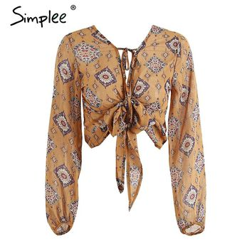 Deep v neck print chiffon blouse shirt Women long sleeve bow tie blouse crop top drawstring blouses