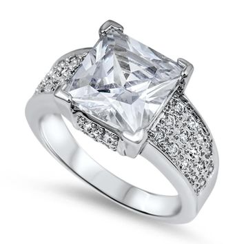 Choose Color Womens Solitaire Cocktail Ring 5CT Princess Cut CZ Pave Rhodium Plated Sterling Silver Cocktail Ring