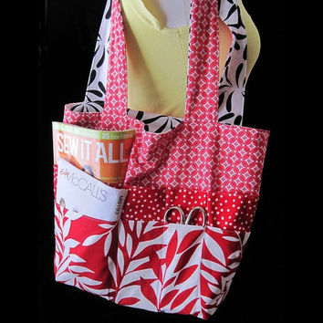 Extra Large Reversible Craft Tote - Red White Black Geometrics - Pockets Everywhere