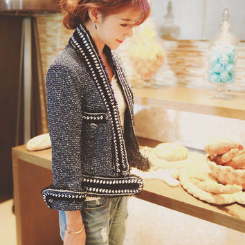 2016 spring Women luxury chain Jacket Tweed Crop metallic knit blazer designer cc Brand Top Quality beaded coat runway outerwear