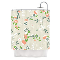 "Very Sarie ""Early Waking"" Green Floral Shower Curtain"