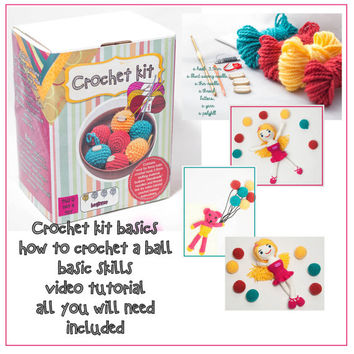 Crochet kit - handmade crochet basic skills, video tutorial, how to crochet a ball, handmade kit, all you need included, colorful hobby time