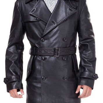 Black leather belted and double breasted trench coat