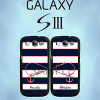 Personalized Best Friends Infinity Navy Stripe Anchor - Samsung Galaxy S3 Case - Samsung Galaxy SIII - Two Case Set