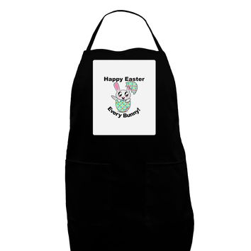 Happy Easter Every Bunny Panel Dark Adult Apron by TooLoud