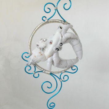 White Crab Ornament - unique, mom, cool gift, grandma, mother's day, friend, easter, teal, spring