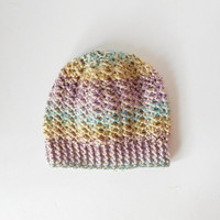 Lacy Skullcap Beanie Hat in Spring Medley, ready to ship.