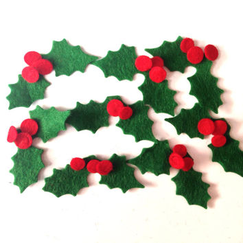 8 Pre Cut Felt Christmas Holly Leaves - Die Cut Christmas Shapes - Scrapbooking, Sewing, Festive Card Toppers, Xmas Craft Supplies UK
