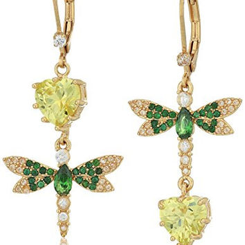 """Betsey Johnson """"Spring Critters"""" Cubic Zirconia and Butterfly Double Mismatch Drop Earrings"""