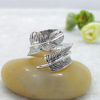 Jewelry New Arrival Shiny Gift Stylish 925 Silver Vintage Feather Accessory Ring [7587129479]