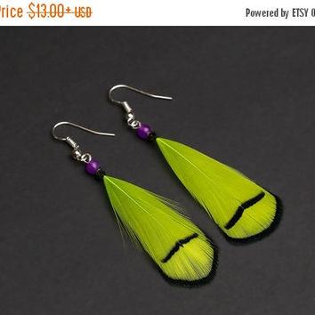 SALE Lime green feather earrings with gemstone, dangle earrings, natural feather earrings, festival earrings, boho earrings, peacock earring