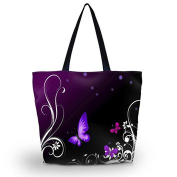 Purple Butterfly Shopping Large Shoulder Tote Bag Canvas Beach Boat, 17x14""