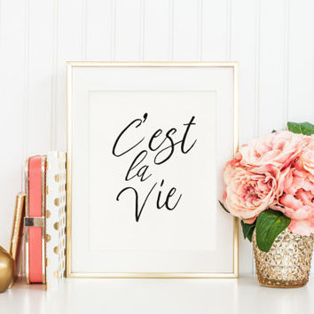 C'est la Vie Print, Printable Wall Art, Typography Art, French Typography, home decor, Printable Quote, Dorm Decor, Dorm Printable Art