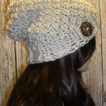 Slouchy Beanie Hat Winter Hand Knit Beige Cream White Woodsy Seed Stitch With A Wood Button