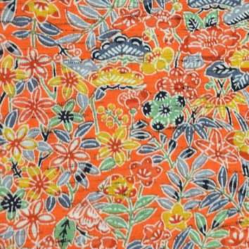 Colourful Floral Vintage Japanese tsumugi mixed wool kimono fabric