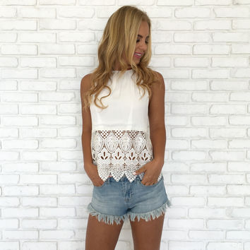 High Roller Crochet Halter Tank In White