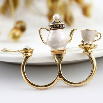 Tea Cup Set Double Ring