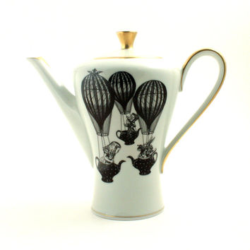Altered Alice in Wonderland Big Teapot Set Balloons Mad Hatter White Rabbit Vintage Porcelain Brown Unique Shabby Chic