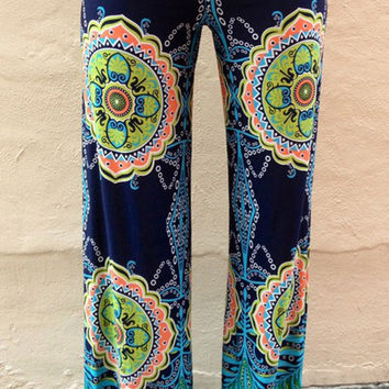 Green Geo Patterned Palazzo Pants