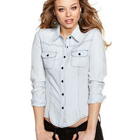 GUESS? Top, Long Sleeve Button Down - Juniors Tops - Macy's