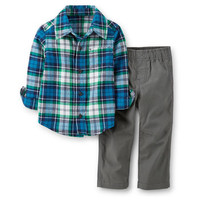 2-Piece Flannel Top & Canvas Pant Set