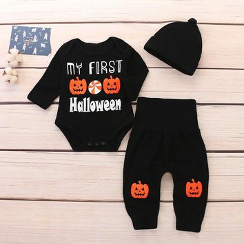 TELOTUNY children clothing set winter Newborn Baby Letter Romper Tops Pumpkin Prin Pants Cap Halloween Clothes Sets AUG 9