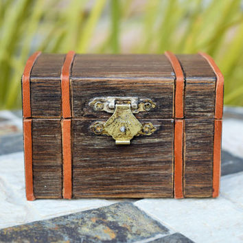 Pirate Treasure chest, Steampunk Steamer Trunk, Ring Bearer Box