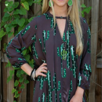 Double or Nothing Charcoal Cactus Trapeze Dress